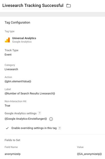 GTM Tag: Livesearch Success